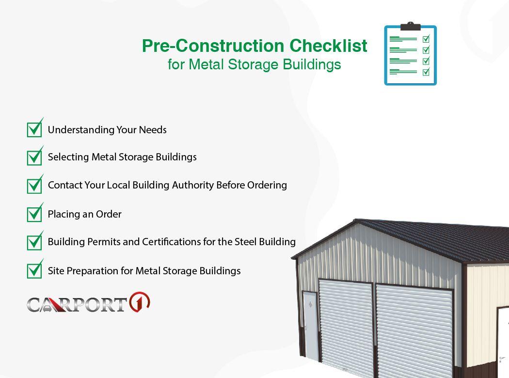 Pre Construction Checklist For Metal Storage Buildings Metal