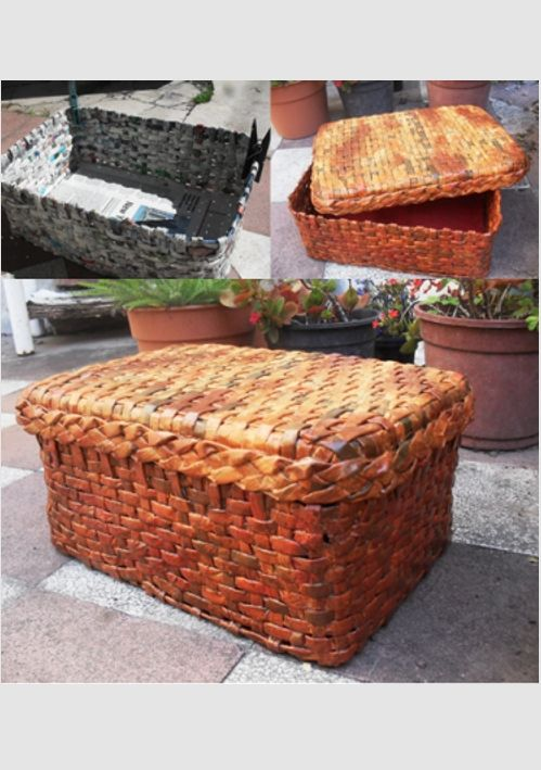 Caja s mil mimbre realizada con papel de diario peri dico - Reciclar cestas de mimbre ...