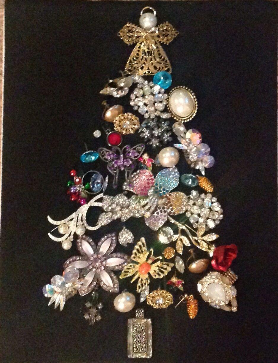 Diy Jewelry Christmas Tree Jewelry Christmas Tree Costume Jewelry Crafts Vintage Jewelry Crafts