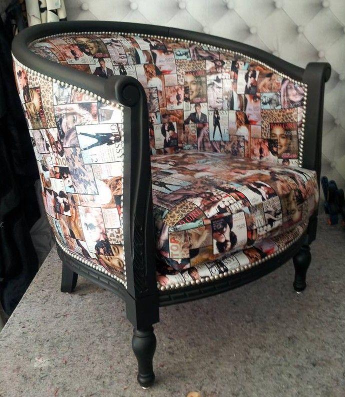 Refection De Fauteuil Avec Un Tissu Simili Cuir Gossip Imprime Couverture De Magazine Fauteuil Art Deco Mobilier De Salon Ameublement