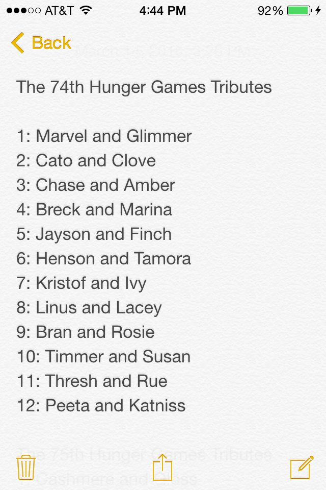 List Of All The Tributes In The 74th Hunger Games According To