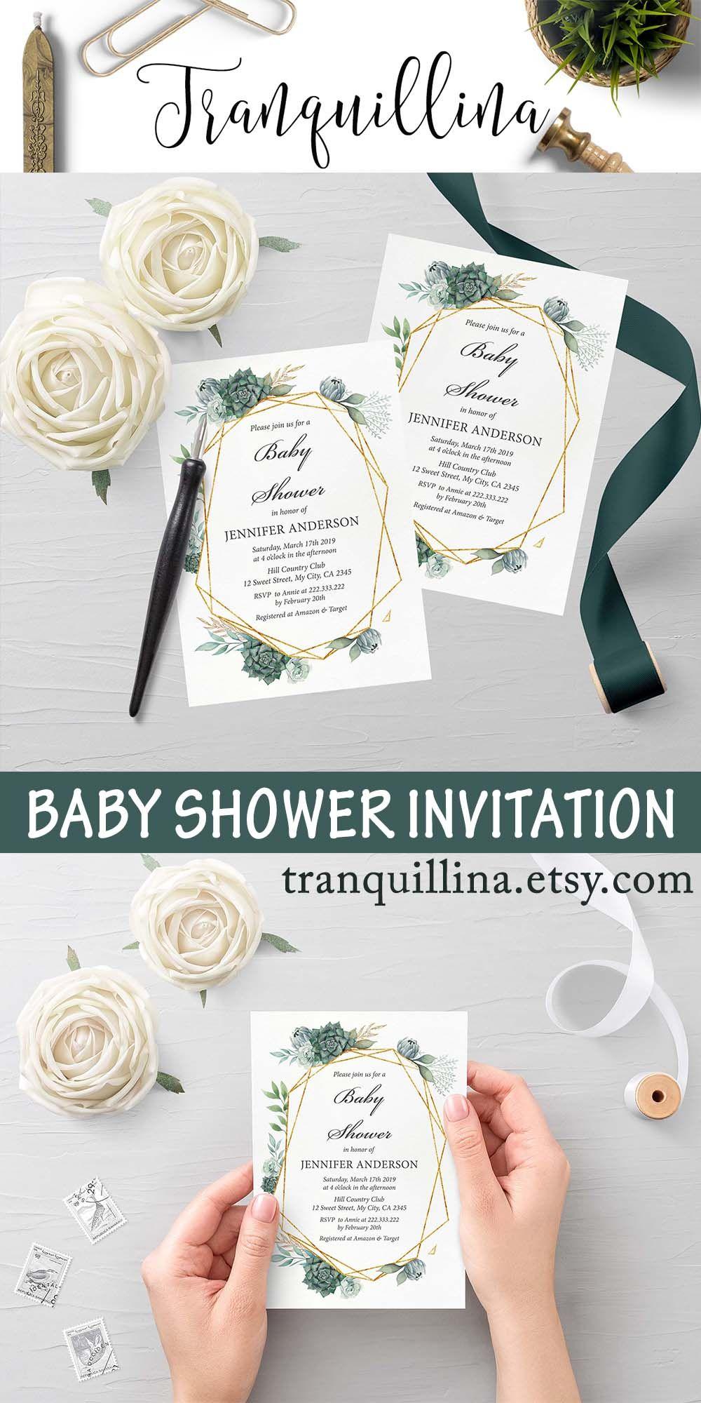 Green succulent baby shower invitation printable, gender
