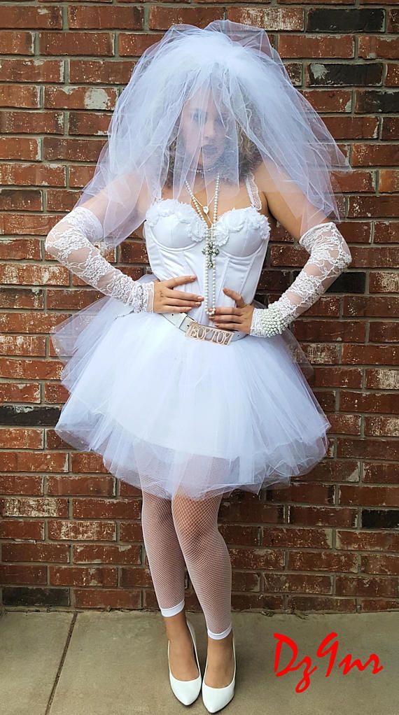 90322be48eb 80 s Style Wedding Dress~ Vegas Wedding Dress~ 80s Prom Dress~ Madonna Like  a Virgin Costume~ Bachelorette Party Dress~ 80 s Theme Party