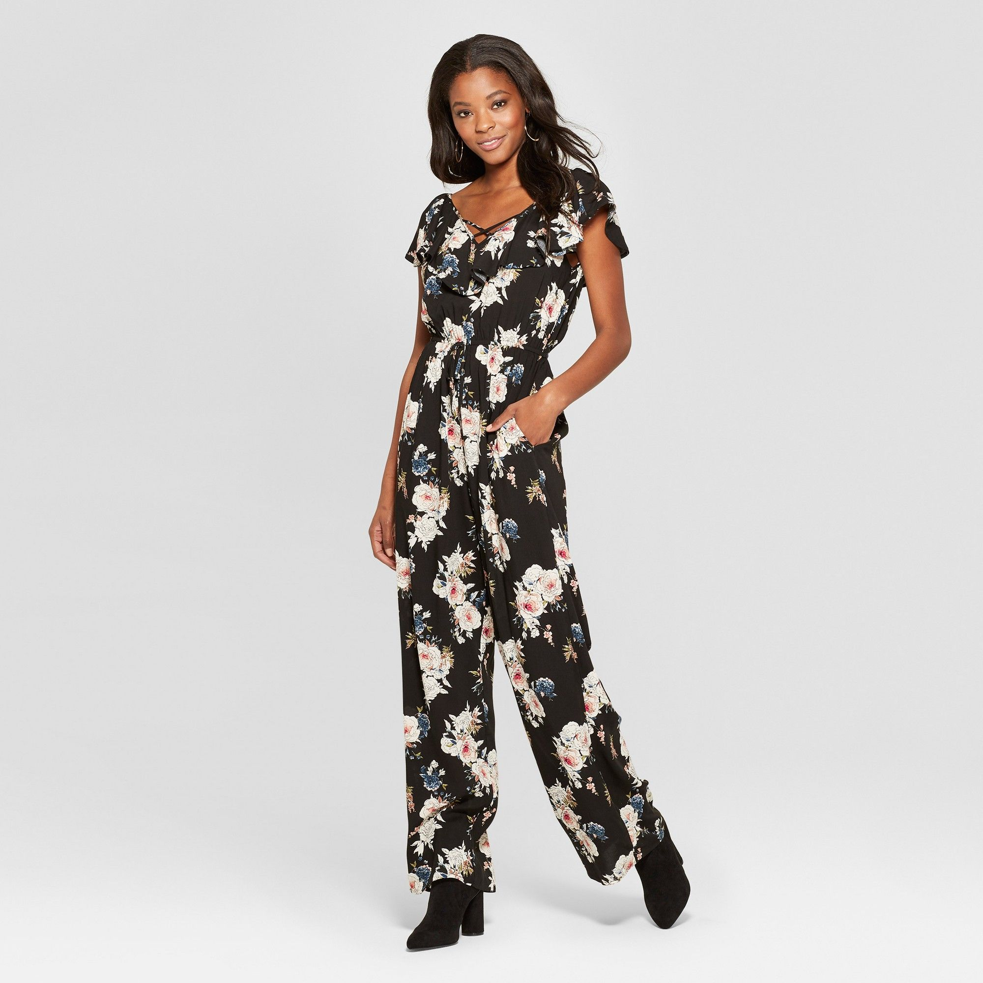 Womens Floral Print Sleeveless Button Front Jumpsuit Xhilaration™ Lilac Medium