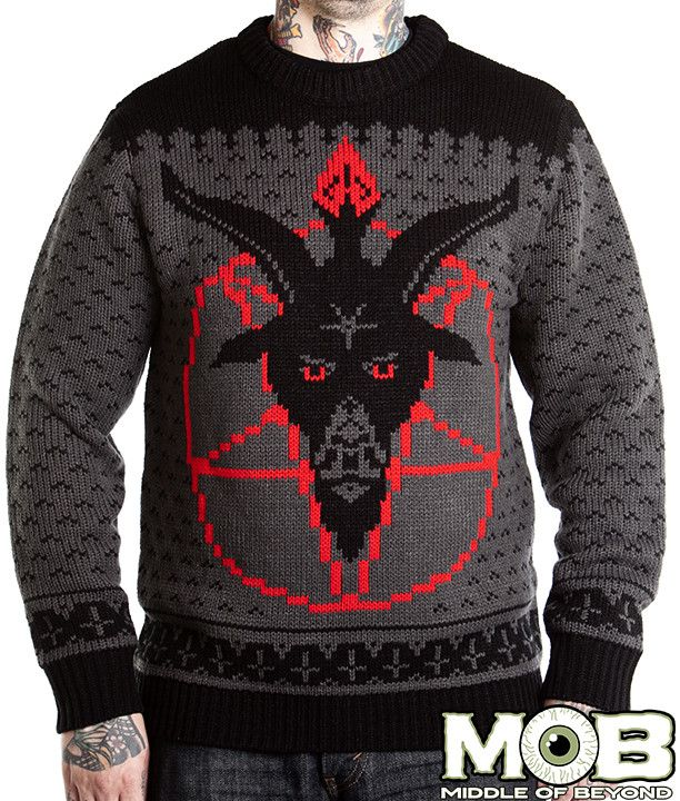 can christmas come early please goat head pentagram satanic knit sweater middle of beyond