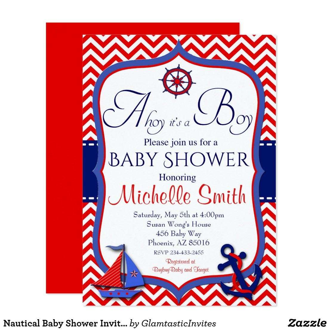 Nautical Baby Shower Invitation, Ahoy it\'s a Boy Card | Shower ...