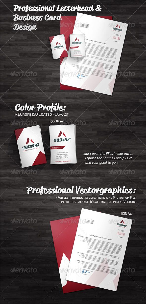 Professional Letterhead and Business Card Design Professional