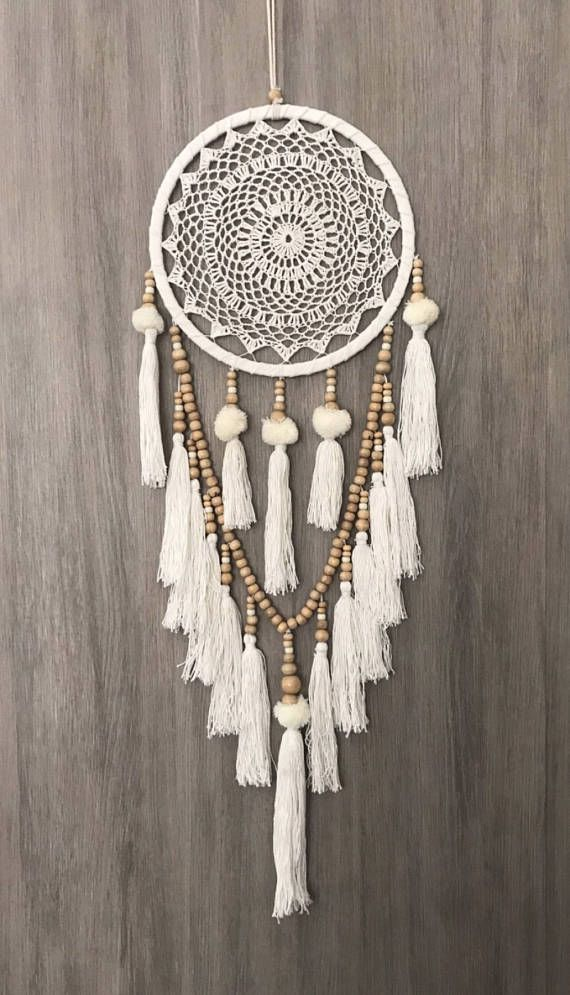 White Dreamcatcher, Crochet Dreamcatcher, Beaded Dream Catcher, Doily Dream Catcher, Wooden Bead Dreamcatcher