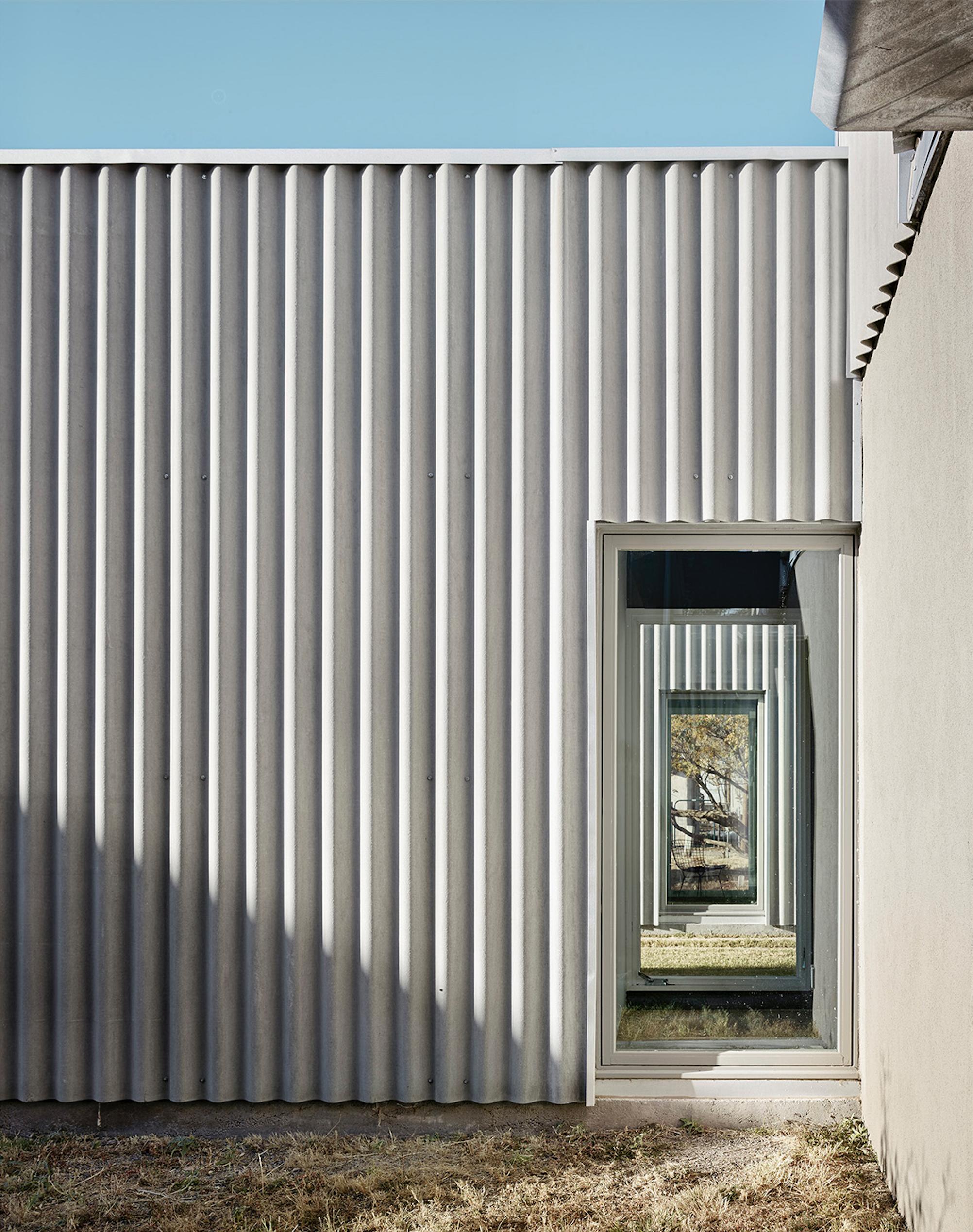Kinney Morrow Corrugated Fiber Cement Board Panels Architecture Adobe House House Cladding