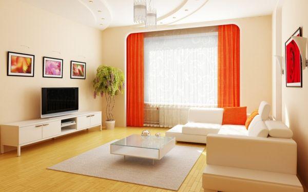 designer wohnzimmer mit gardinen in grellem orange - Wie ein - wohnzimmer ideen orange