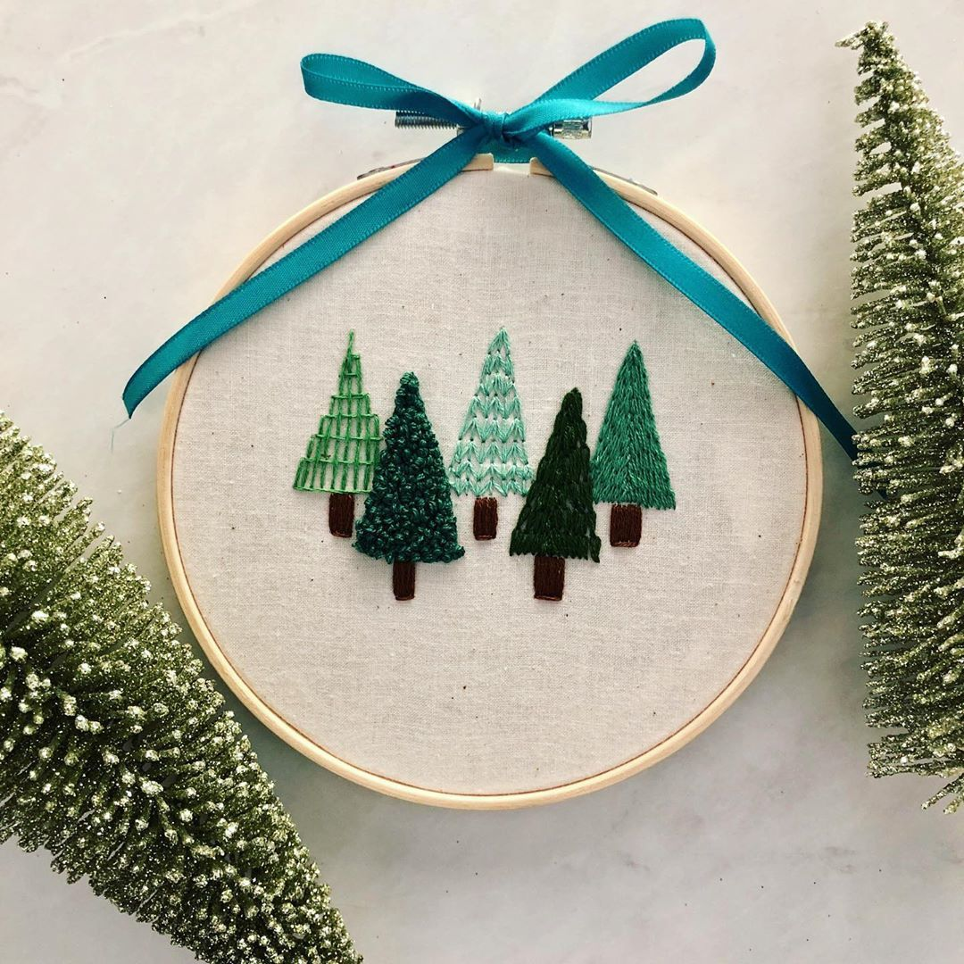 Christmas Tree Hand Embroidery Hoop Bordado