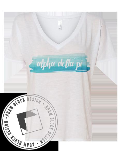 d1b6324a8 Alpha Delta Pi Watercolor Vneck Tshirt | shirt ideas | Chi omega ...