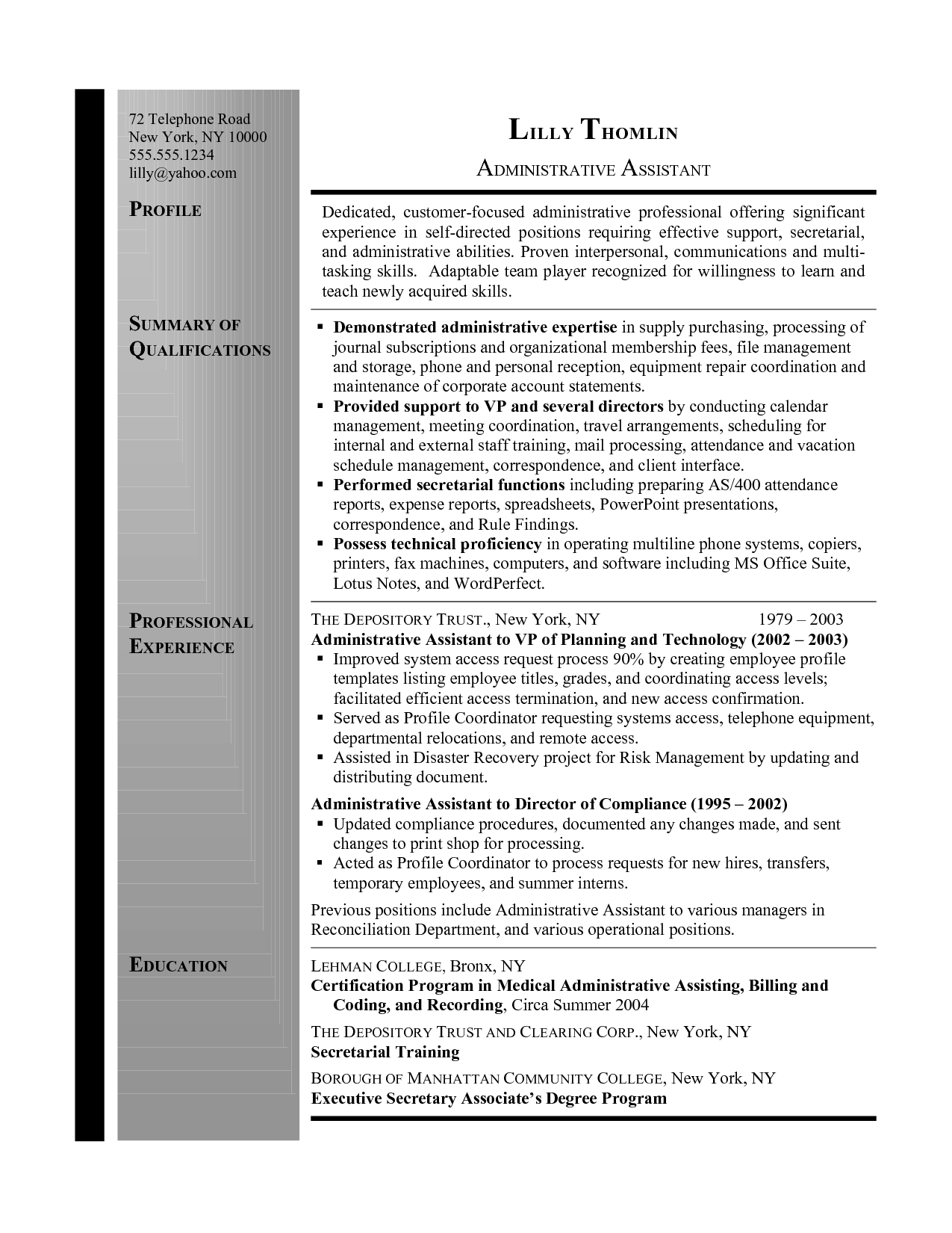 secretary resume example is a sample resume for executive assistant with secretarial work in the banking industry - Sample Resume Summary For Secretary