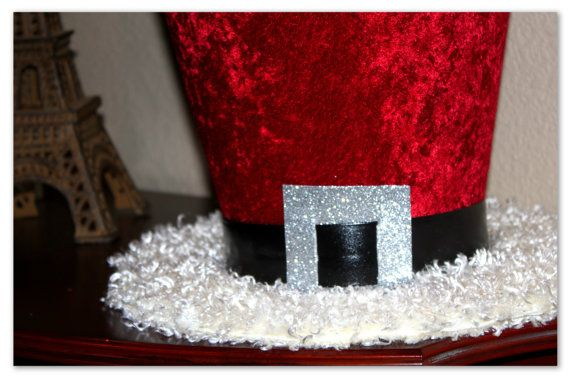 9in. Santa Claus Top Hat Christmas Hat Candy Cane By