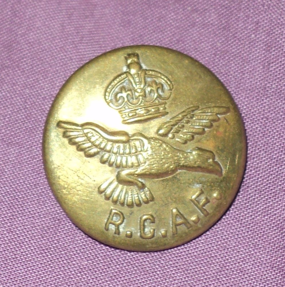 Vintage Royal Canadian Air Force Brass Collectible Button