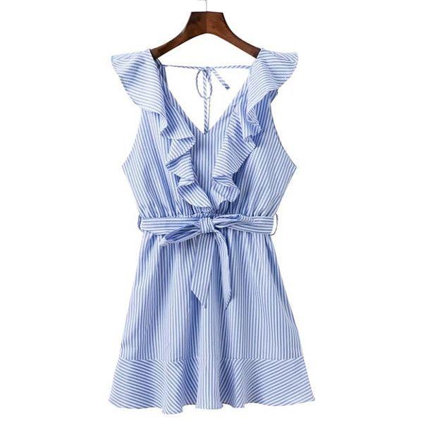 f2ca62c4803522 SheIn(sheinside) Ruffle Trim Tie Back Bow Tie Waist Dress (1
