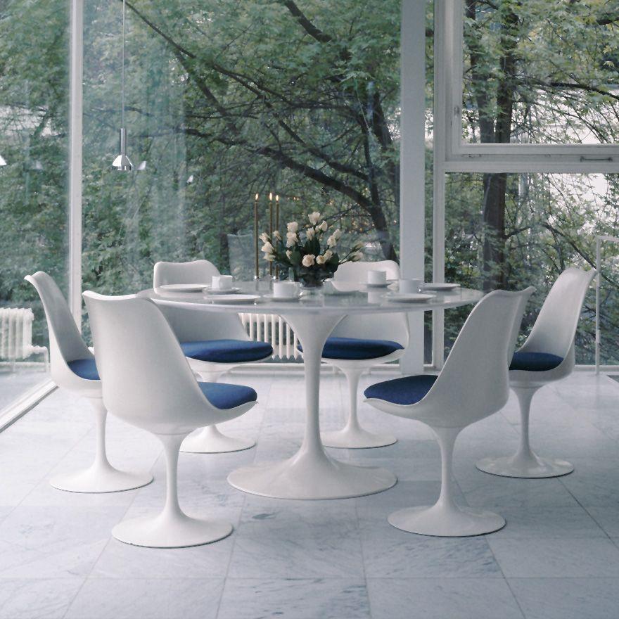 Great Saarinen Dining Table, Round   Saarinen Tulip Side Chair   Designed By Eero  Saarinen For Knoll