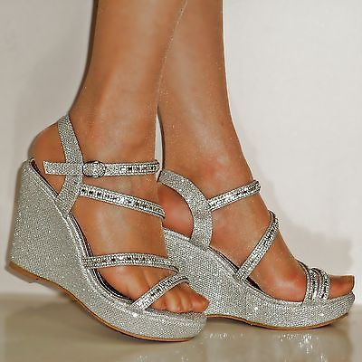 4fd09d063fd NEW DIAMANTE SILVER GOLD BLACK WEDGE MID HEEL PROM EVENING BRIDAL SANDALS  SIZE  Promheels