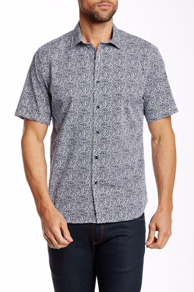 Bass /& Co Pewter Men's Short Sleeve Crosshatch Woven Shirt NEW G.H