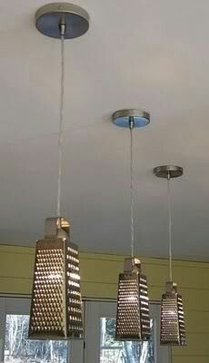 Steel lamps with added cheese graters