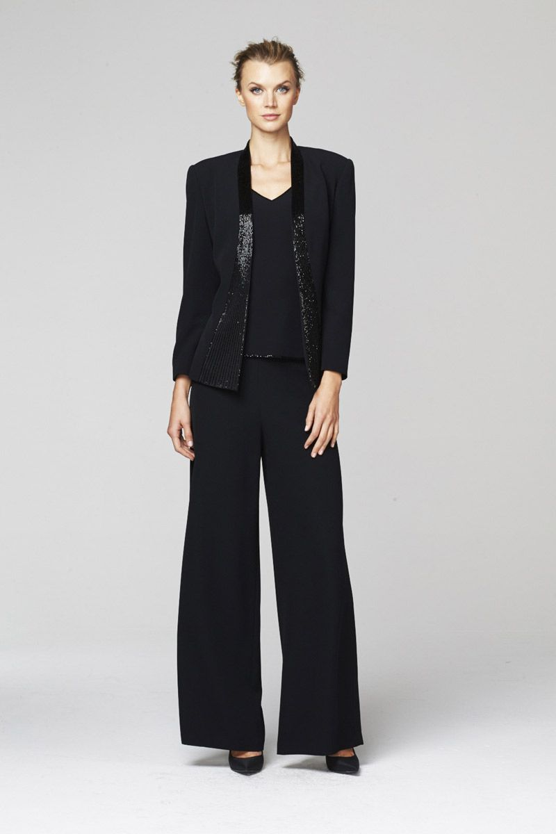05cfc704126 Daymor Couture 248 is a mother of the bride pant suit with long sleeve  jacket and tonal beading.