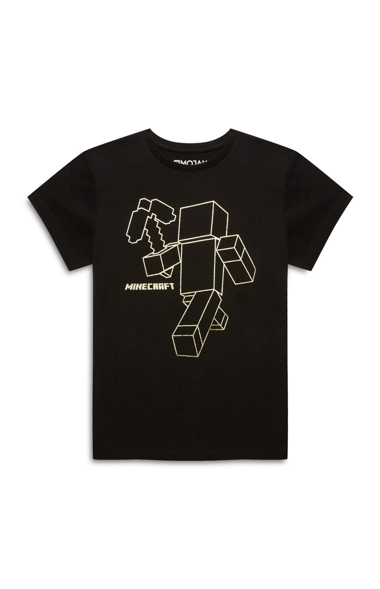 fb5e0b2d9a134 Primark - Older Boy Black Minecraft T-shirt | Party Ideas for the ...