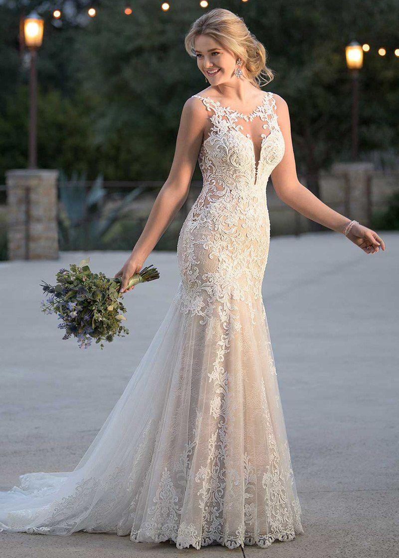 Trumpet Mermaid Tulle Applique Scoop Sleeveless Sweep Brush Train Wedd Maxi Bridal Wedding Dress Train Ball Gown Wedding Dress Wedding Dresses [ 1118 x 800 Pixel ]