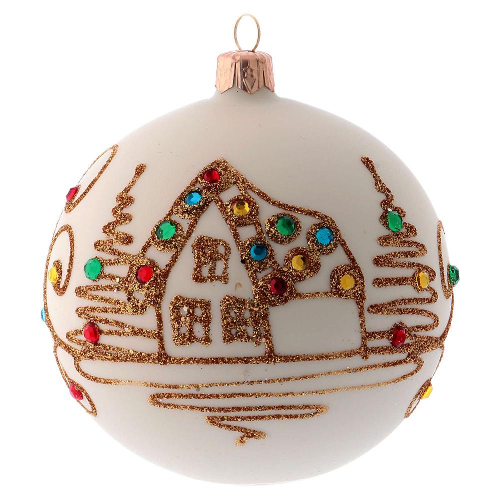 Bola De Navidad Blanco Opaco Con Decoración Dorada 100 Mm Christmas Balls Christmas Bulbs White Christmas