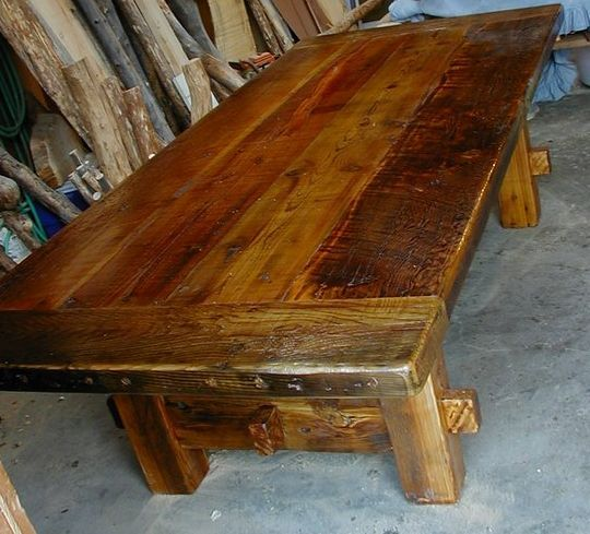 Very rustic blocky tablelove the look Tables Pinterest