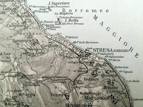 Antique 1937 Map Of Stresa Italy From Muirhead S Blue Guides