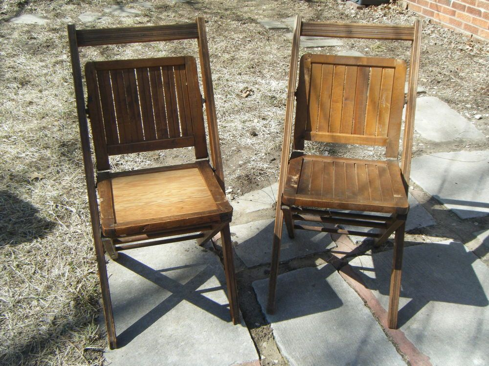 TWO ORIGINAL ANTIQUE 1893 WOOD FOLDING CHAIRS SIMMONS MFG. CO. CHICAGO IL  USA BACK PATIO SEATING - Two Original Antique 1893 Wood Folding Chairs Simmons Mfg. Co