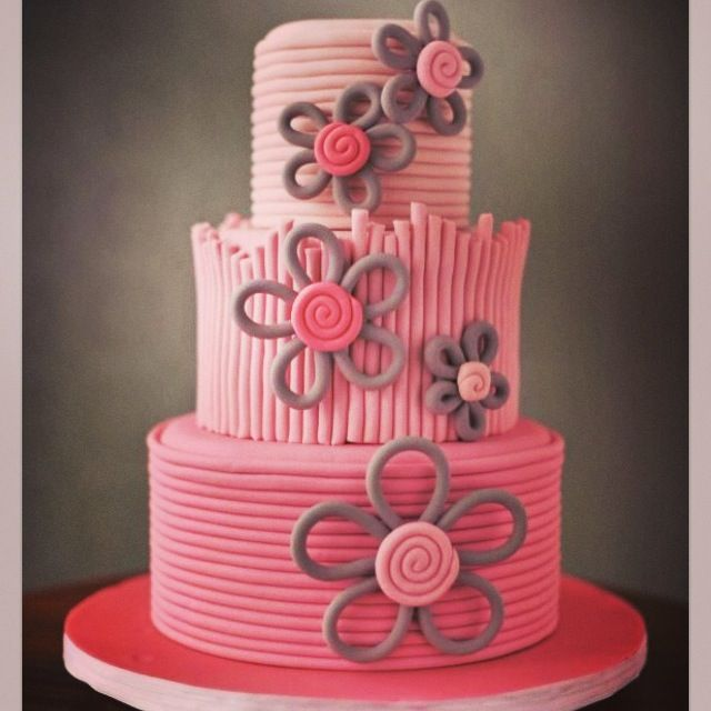 Simple girly birthday cake Ava Birthday Party Ideas Pinterest