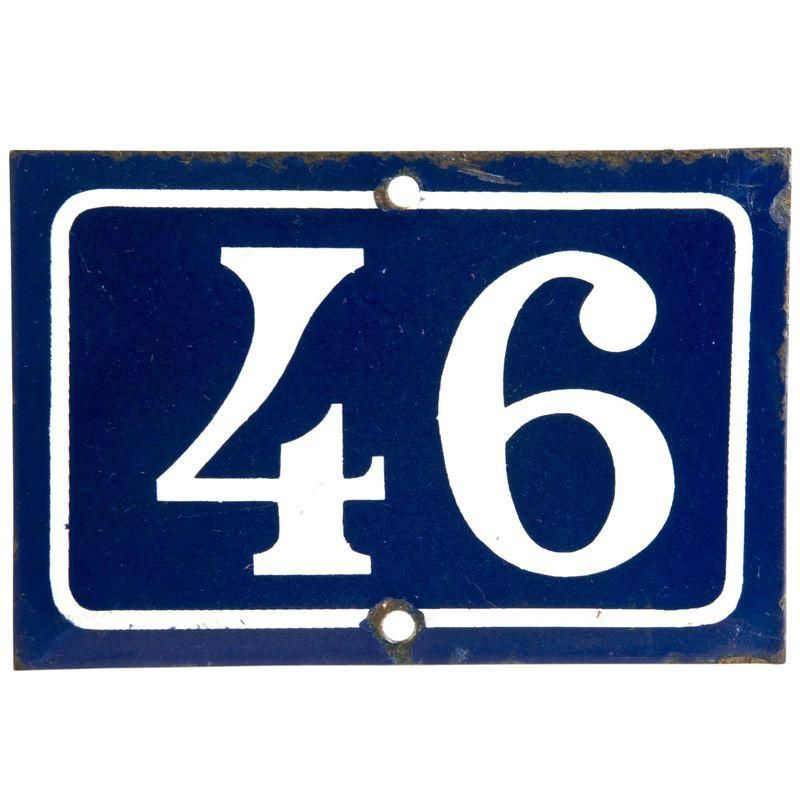 Vintage French Enamel House Number 46 House Numbers French Garden Decor French Signs