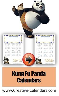 Calendar 2013-2020 Kung Fu Panda calendars for 2013   2020 (free) | Free Printable