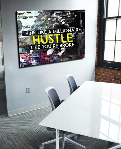 Think Like A Millionaire Canvas Hustle (Wood Frame Ready To Hang ...