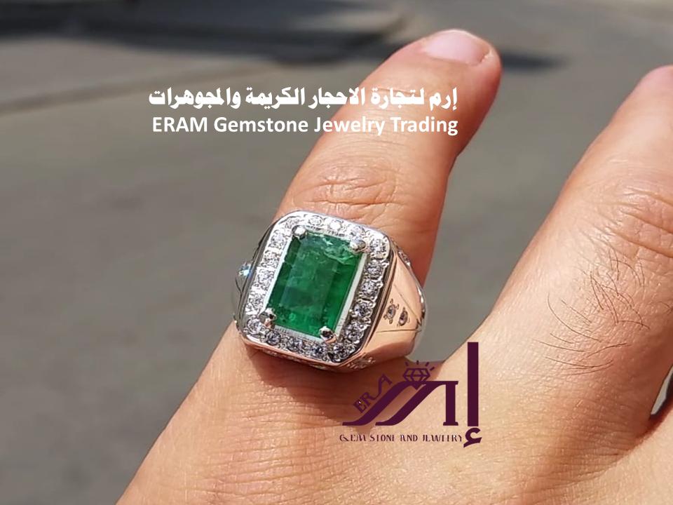خاتم ملكي زمرد طبيعي100 Emerald للعرض Gemstone Rings Gemstones Turquoise Ring