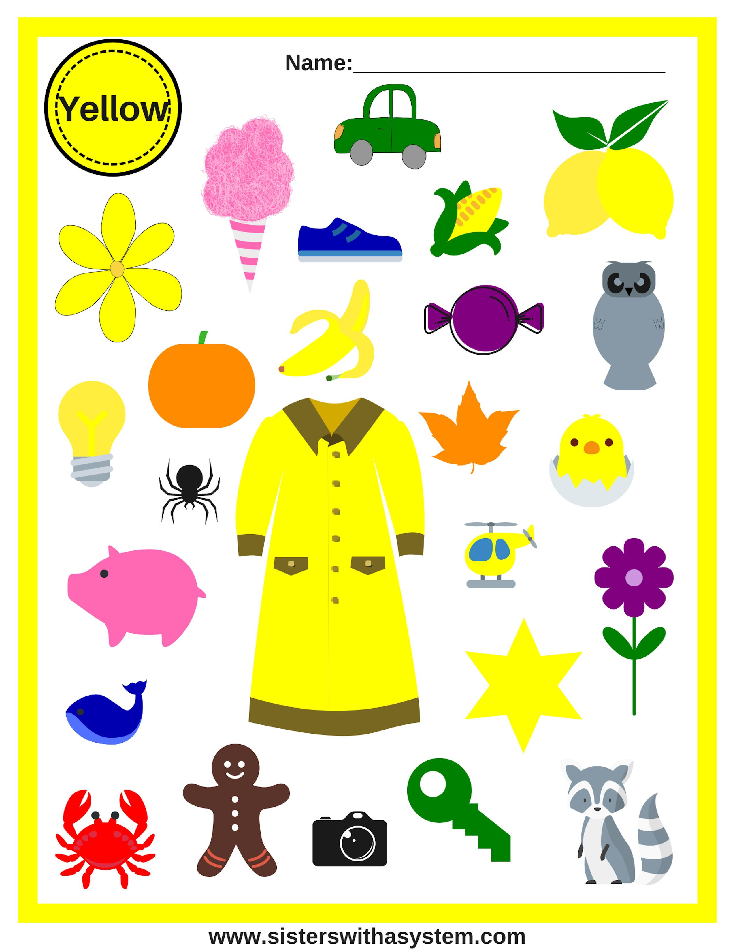 How Many Yellow Items Can You Find Teaching Colors Color Activities Free Homeschool Printables [ 3300 x 2550 Pixel ]