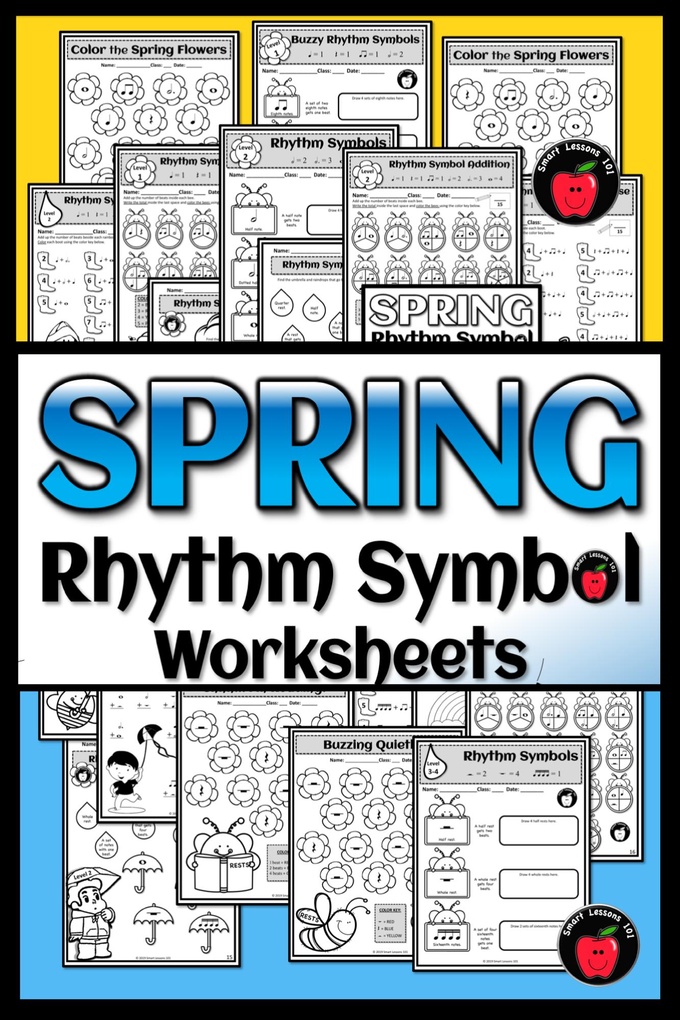 Spring Music Worksheets Rhythm Worksheets Spring Music Symbol Activity Lesson