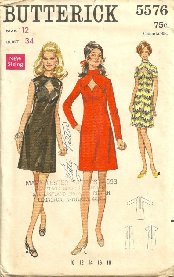 Butterick 5576 1960s Misses Sexy Diamond Peekaboo Cut Out Slim Dress ...