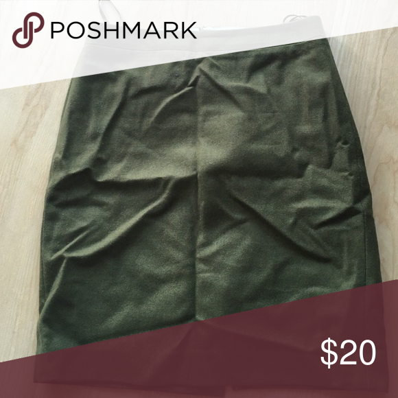 JCrew Army green wool pencil skirt Perfect fall skirt! Army green wool skirt that pairs with anything for work or brunch with friends! J. Crew Skirts Pencil