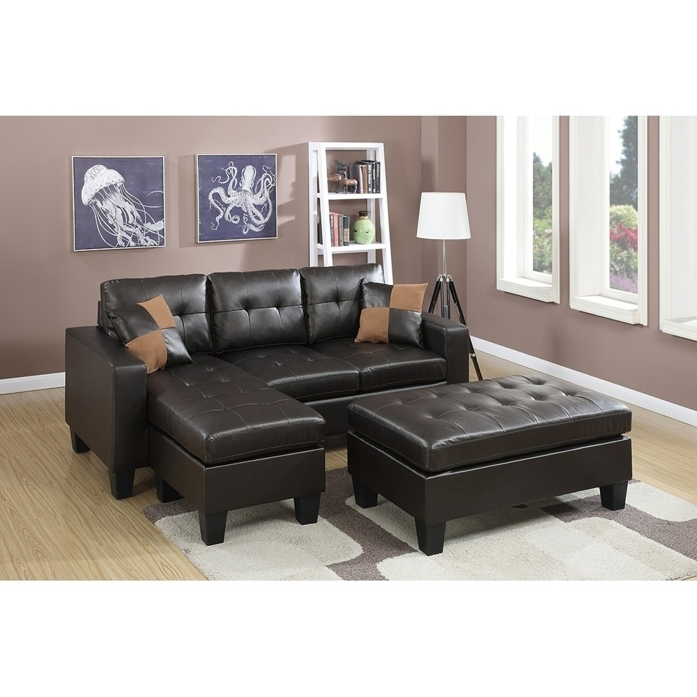 All In One Reversible Sectional Sofa With 2 Accent Pillows And Xl Cocktail Ottmman Microfiber