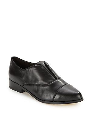 Saks Fifth Avenue Leather Slip-On Loafers - Black - Size