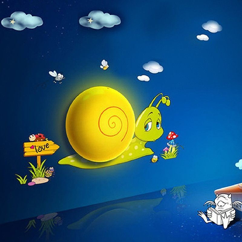 Cartoon Snail LED Night Light With Sensor 3D DIY Cute Wallpapers Plug In Wall For House Bedroom Decoration Energy Saving