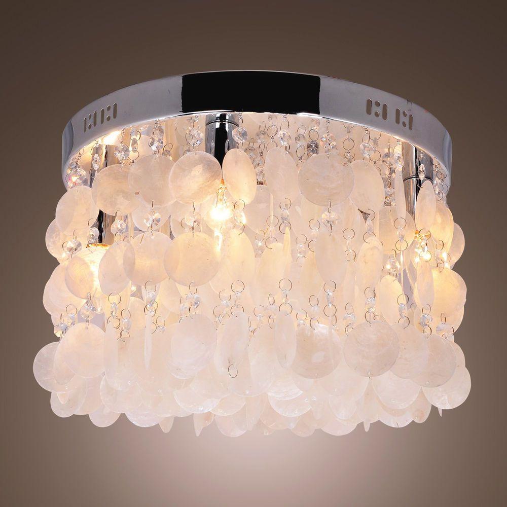 Chandelier Funy White 4 Light Flush Mount Polished Chrome Ceiling Lighting Lamp Generic Modern Lumieres Suspendus Lamp
