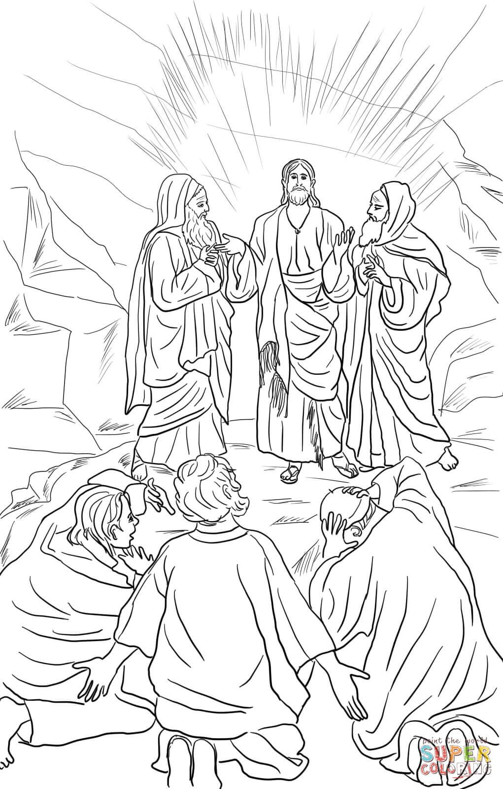 Jesus Transfiguration Coloring Page Free Printable Coloring