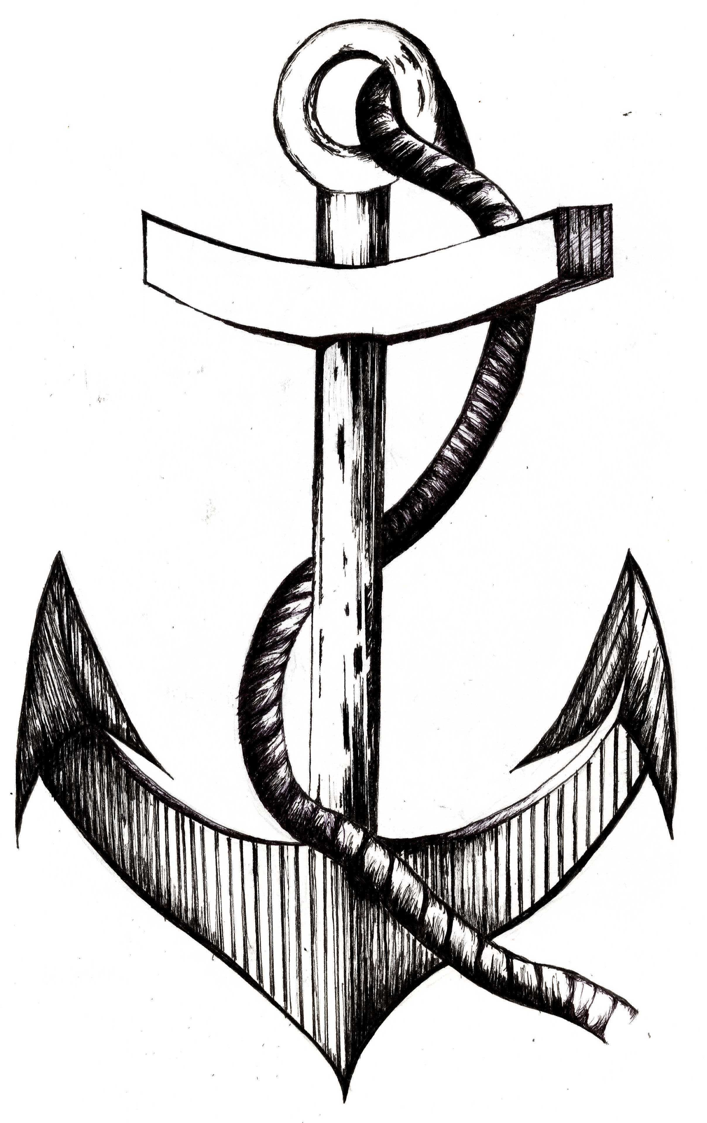 Line Drawing Anchor : Anchor illustration using fine liner tattoo