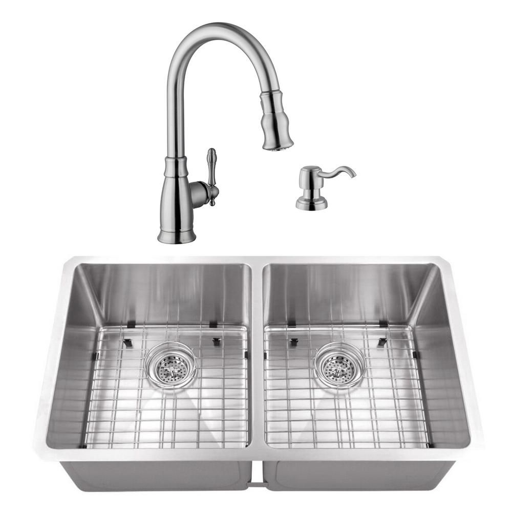 Cahaba Undermount Stainless Steel 32 In 50 50 Double Bowl Kitchen