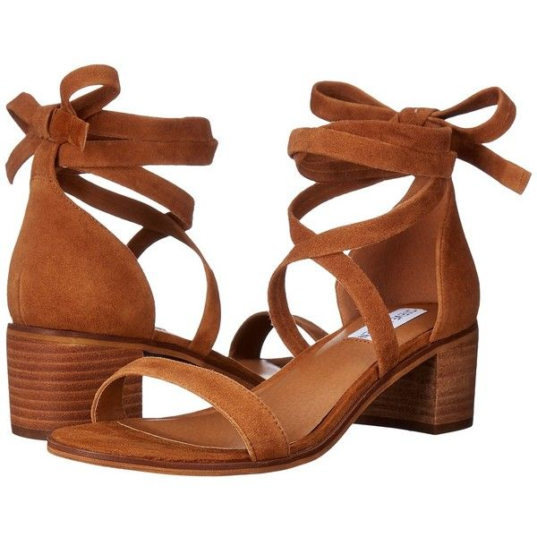 cd2cb7e4de3 Steve Madden Rizzaa (Cognac Suede) Women s Sandals ( 80) ❤ liked on  Polyvore featuring shoes