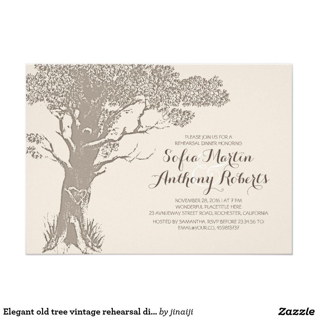 """Elegant old tree vintage rehearsal dinner 5"""" x 7"""" invitation card"""