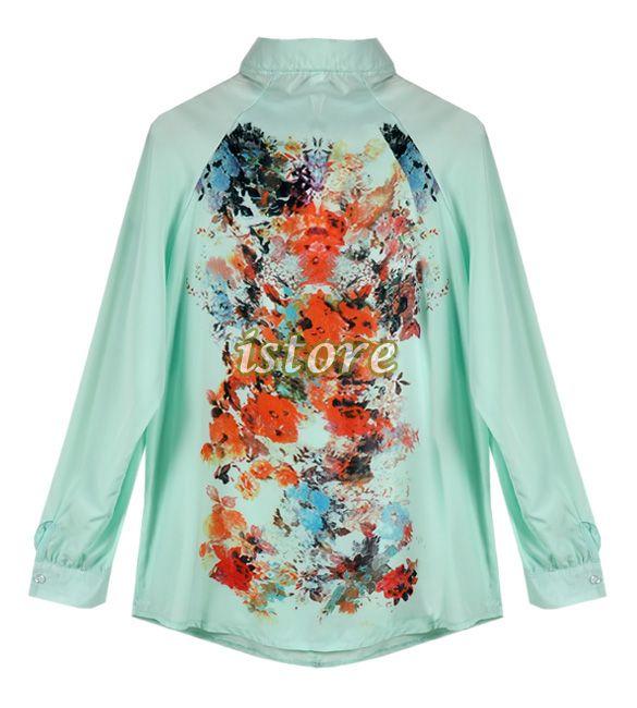 Wholesale Product Snapshot Product name is Novo 2014 moda ocidental Retro cópia da flor Casual solto manga comprida Chiffon Blusa das mulher...